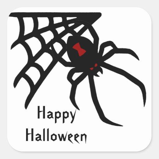 Pegatinas de Halloween de la araña de la viuda Pegatina Cuadradas Personalizadas