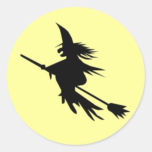 Pegatinas de Halloween de la bruja del vuelo de la Pegatina Redonda