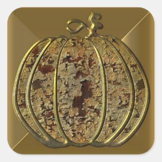 Pegatinas de Halloween de la calabaza del oro Pegatina Cuadrada