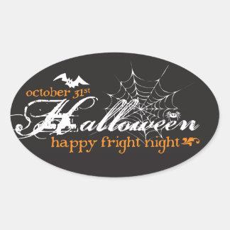Pegatinas de Halloween de la noche del susto Pegatina Ovalada