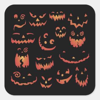 Pegatinas de Halloween de las calabazas que Pegatina Cuadrada