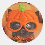 Pegatinas de Halloween del gatito de la calabaza Pegatinas Redondas