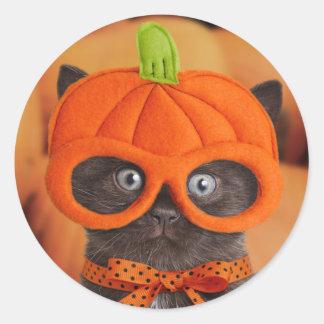 Pegatinas de Halloween del gatito de la calabaza Pegatina Redonda
