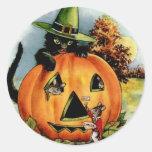 Pegatinas de Halloween del vintage - truco o invit