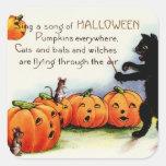 Pegatinas de Halloween del vintage - truco o Pegatina Cuadrada