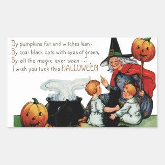 Pegatinas de Halloween del vintage - truco o Pegatina Rectangular