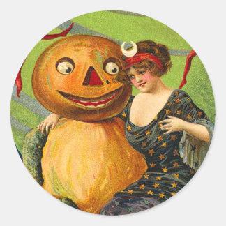 Pegatinas de Halloween del vintage - truco o Pegatina Redonda