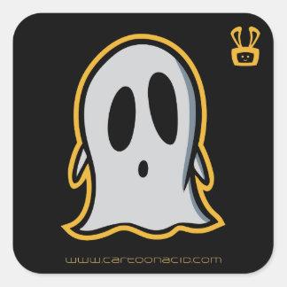 Pegatinas de Halloween - fantasma lindo del dibujo Pegatina Cuadrada