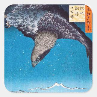 Pegatinas de Hiroshige Eagle Calcomanías Cuadradas