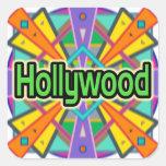 """Pegatinas de """"Hollywood"""" del diseño de la alegría Colcomanias Cuadradases"""