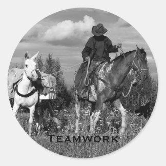 Pegatinas de Horse&Mule del vaquero Pegatina Redonda