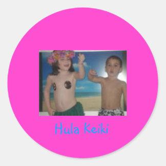 Pegatinas de Hula Keiki Etiqueta Redonda