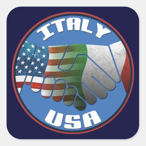Pegatinas de Italia los E.E.U.U. Calcomanías Cuadradas Personalizadas
