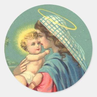 Pegatinas de Jesús del Virgen María y del bebé Etiquetas Redondas