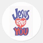 Pegatinas de JESUS-LOVES-YOU Pegatina Redonda