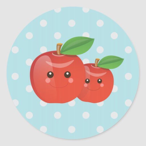 Pegatinas de Kawaii Apple Pegatina Redonda