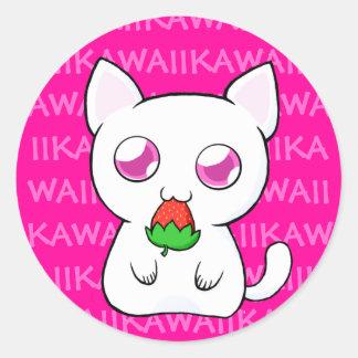 Pegatinas de Kawaii Koneko Pegatina Redonda
