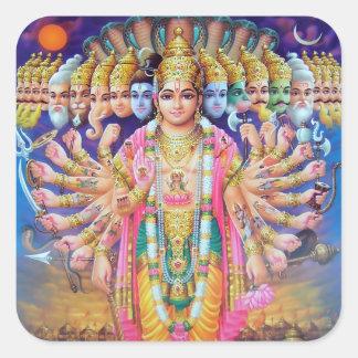 Pegatinas de Krishna Vishvarupa Pegatinas Cuadradas Personalizadas