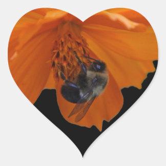 Pegatinas de la abeja del corazón pegatina en forma de corazón