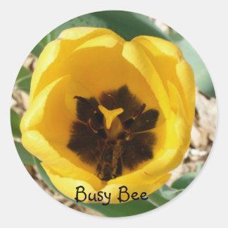 Pegatinas de la abeja ocupada etiqueta redonda