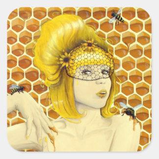 Pegatinas de la abeja reina - arte surrealista de pegatina cuadrada