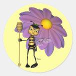 Pegatinas de la abeja reina pegatina redonda