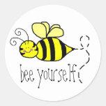 Pegatinas de la abeja usted mismo etiqueta redonda