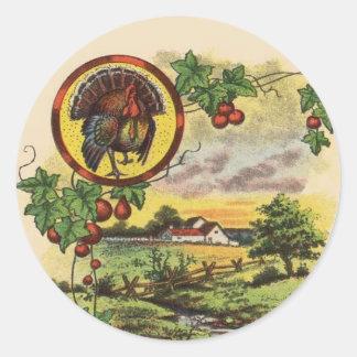 Pegatinas de la acción de gracias de la granja de pegatina redonda