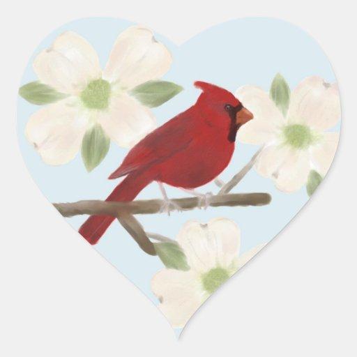 Pegatinas de la acuarela del cardenal y del pegatina de corazon