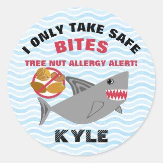 Pegatinas de la alarma de la alergia de la nuez pegatina redonda