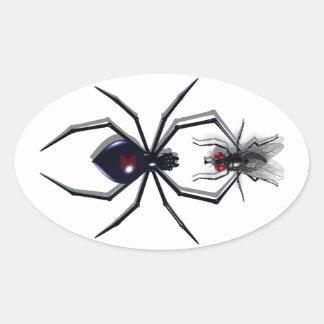 Pegatinas de la araña y de la mosca calcomanía ovalada