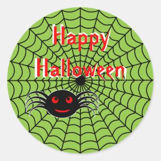Pegatinas de la araña y del Web de Halloween Etiquetas Redondas