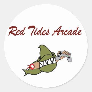 Pegatinas de la arcada de las mareas rojas pegatina redonda