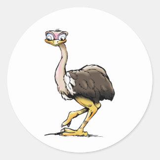 Pegatinas de la avestruz pegatina redonda