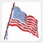 Pegatinas de la bandera americana pegatina cuadradas personalizada