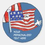 Pegatinas de la bandera americana del dibujo anima