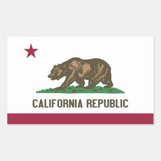 """Pegatinas de la bandera de California"" Pegatina Rectangular"
