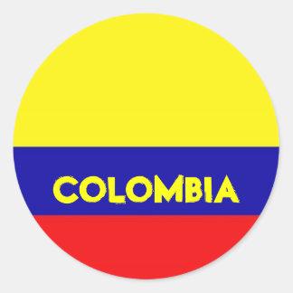 Pegatinas de la bandera de Colombia Pegatina Redonda