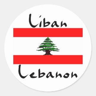Pegatinas de la bandera de Liban Líbano Pegatina Redonda