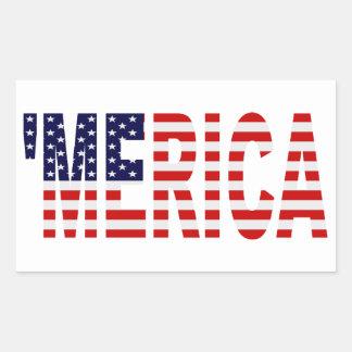 'Pegatinas de la bandera de MERICA los E.E.U.U. Rectangular Pegatina
