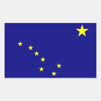 """""""Pegatinas de la bandera del estado de Alaska"""" Pegatina Rectangular"""