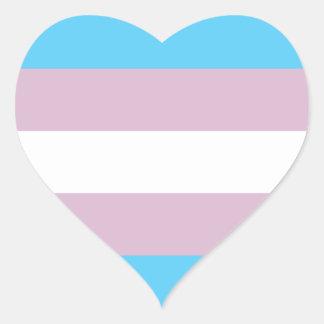 Pegatinas de la bandera del orgullo del transexual pegatina en forma de corazón