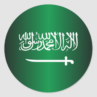 Pegatinas de la bandera del saudí etiqueta redonda