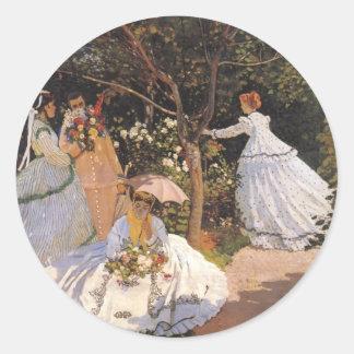 Pegatinas de la bella arte de Claude Monet Pegatina Redonda