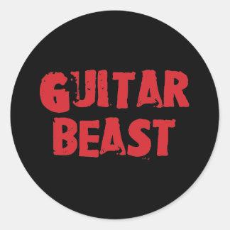 Pegatinas de la bestia de la guitarra etiquetas redondas