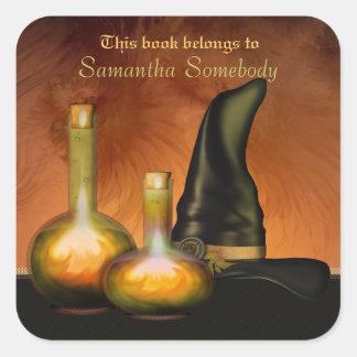 Pegatinas de la biblioteca del Bookplate de Witchy Pegatina Cuadrada