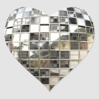 Pegatinas de la bola de espejo del disco pegatina en forma de corazón