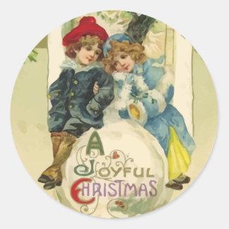 Pegatinas de la bola de nieve del navidad del pegatinas redondas