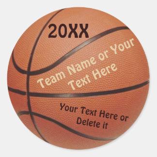 Pegatinas de la bola del baloncesto, tipo AÑO, Pegatinas Redondas