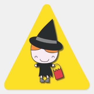 Pegatinas de la bruja de Halloween Pegatina Triangular